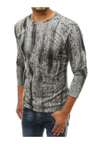 Pánské vzorované tričko s dlouhým rukávem v světle šedé barvě
