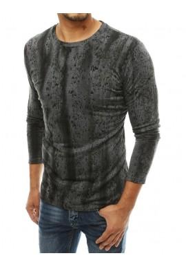 Tmavě šedé vzorované tričko s dlouhým rukávem pro pány