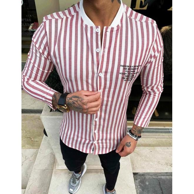 Červeno-bílá pásikavá košile s dlouhým rukávem pro pány
