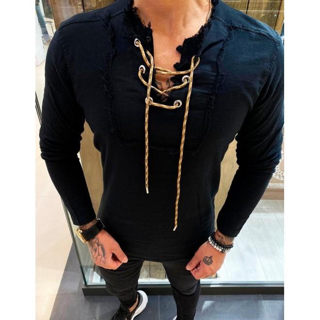 Pánská módní košile se šněrovacím výstřihem v černé barvě