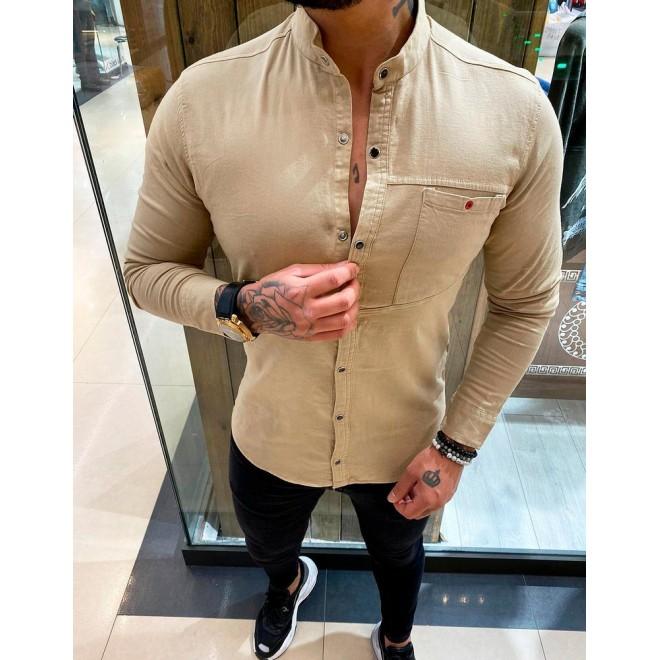 Hnědá stylová košile s dlouhým rukávem pro pány