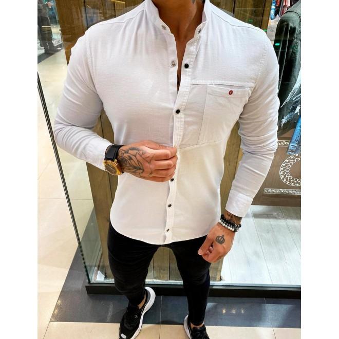 Stylová pánská košile ecru barvy s dlouhým rukávem