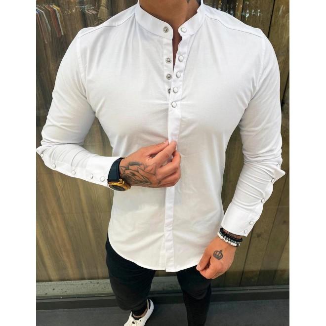 Pánská módní košile s dlouhým rukávem v bílé barvě