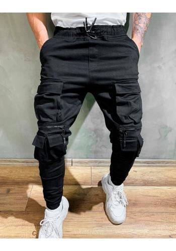 Pánské stylové Joggery s množstvím kapes v černé barvě