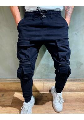 Tmavě modré stylové Joggery s množstvím kapes pro pány