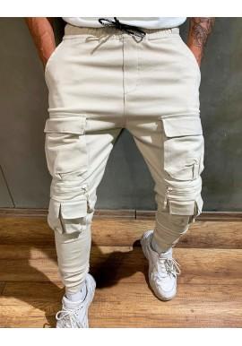 Pánské stylové Joggery s množstvím kapes v krémové barvě