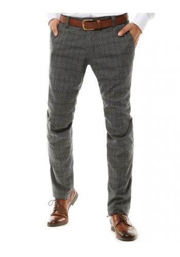 Pánské klasické Chinos kalhoty se vzorem v šedé barvě