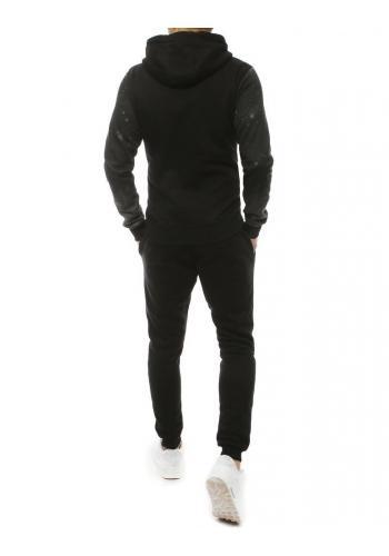 Tepláková pánská souprava šedo-černé barvy s potiskem