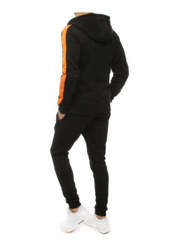 Tepláková pánská souprava černé barvy s oranžovými prvky