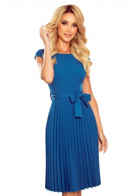Plisované dámské šaty mořské barvy s krátkým rukávem