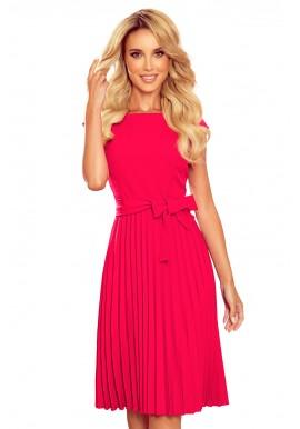 Dámské plisované šaty s krátkým rukávem v malinové barvě