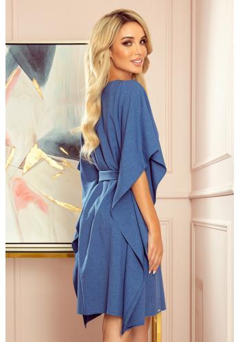 Modré módní šaty s páskem pro dámy