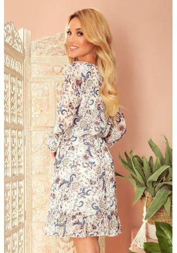 Bílé šifónové šaty s květinovým vzorem pro dámy