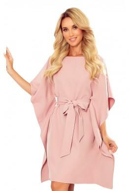 Módní dámské šaty růžové barvy s páskem