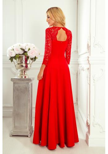 Dámské dlouhé šaty s krajkou v červené barvě
