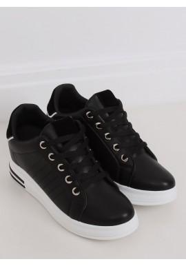 Dámské módní tenisky na skrytém podpatku v černé barvě
