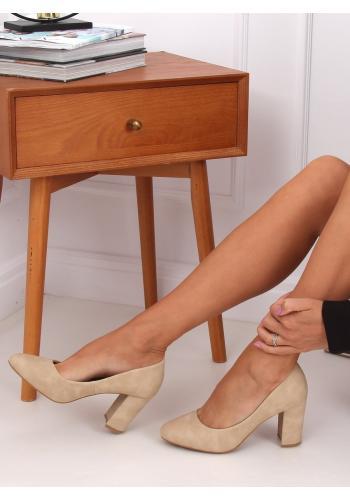 Béžové semišové lodičky na stabilním podpatku pro dámy
