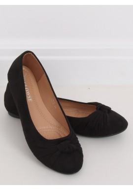 Dámské semišové balerínky s aplikací v černé barvě