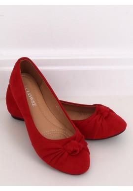Červené semišové balerínky s aplikací pro dámy