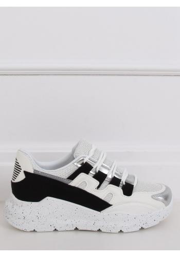 Bílo-černé stylové tenisky s metalickými prvky pro dámy