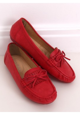Klasické dámské mokasíny červené barvy s mašlí