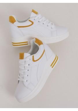 Dámské klasické tenisky na skrytém podpatku v bílo-žluté barvě