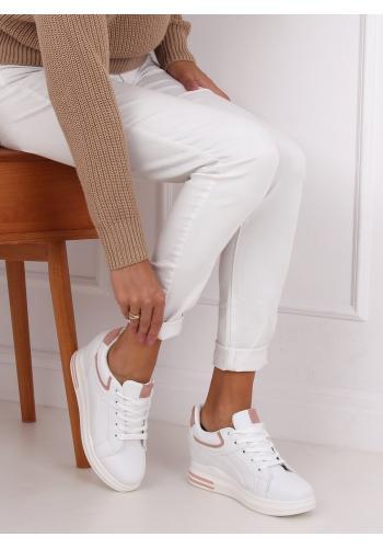 Bílo-růžové klasické tenisky na skrytém podpatku pro dámy