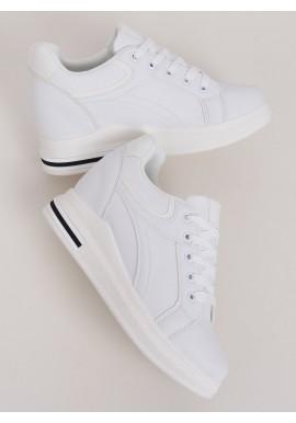 Klasické dámské tenisky bílé barvy na skrytém podpatku