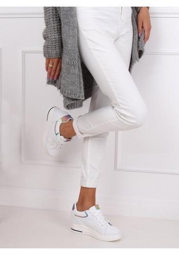 Dámské klasické tenisky na podpatku s barevnými vložkami v bílé barvě