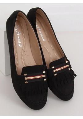 Semišové dámské mokasíny černé barvy s ozdobou
