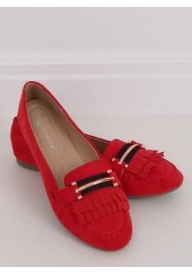 Červené semišové mokasíny s ozdobou pro dámy