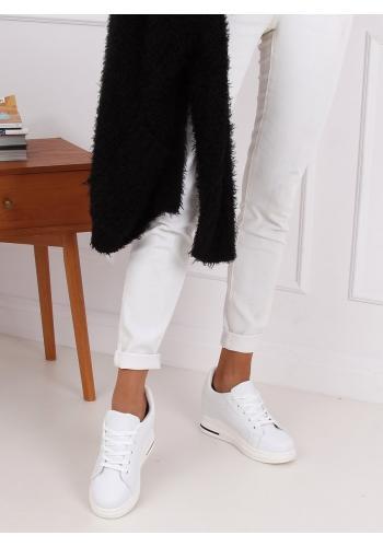 Módní dámské tenisky bílé barvy na skrytém podpatku