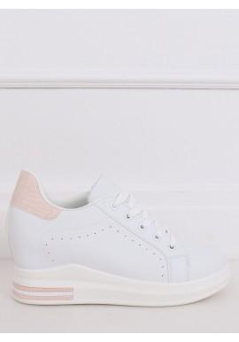 Bílo-růžové módní tenisky na skrytém podpatku pro dámy