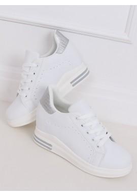 Módní dámské tenisky bílo-stříbrné barvy na skrytém podpatku