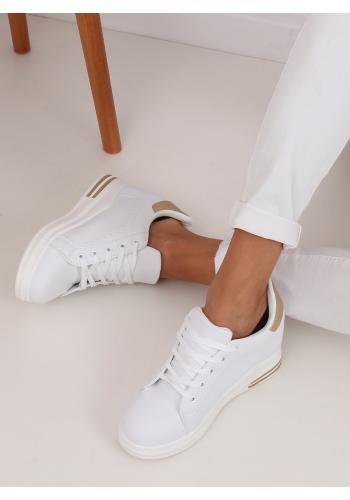 Dámské módní tenisky na skrytém podpatku v bílo-zlaté barvě