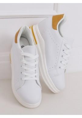 Bílo-žluté módní tenisky na skrytém podpatku pro dámy