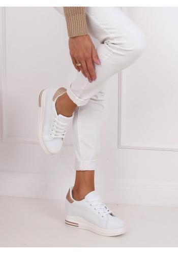 Módní dámské tenisky bílé/růžovo-zlaté barvy na skrytém podpatku