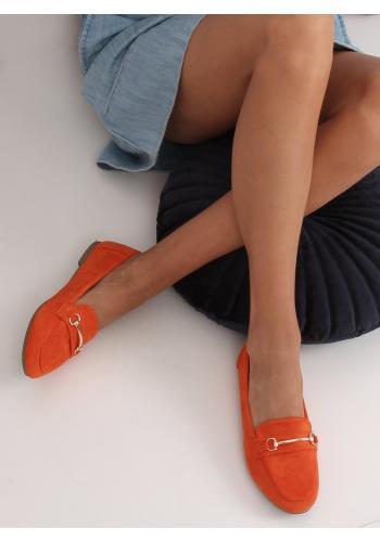 Dámské semišové mokasíny se zlatou ozdobou v oranžové barvě