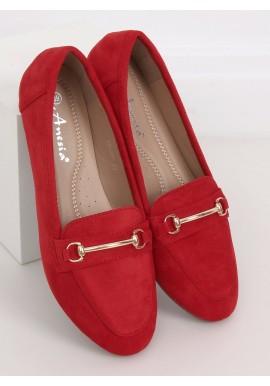 Semišové dámské mokasíny červené barvy se zlatou ozdobou