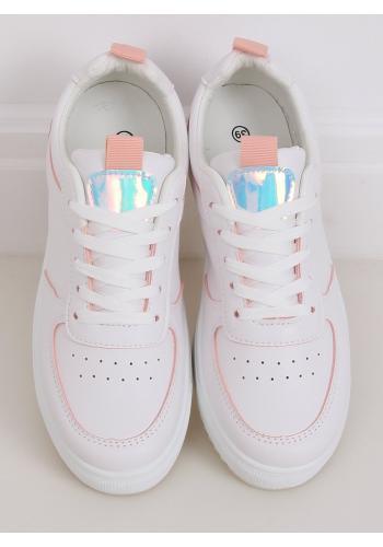 Stylové dámské tenisky bílo-růžové barvy s holografickými vložkami