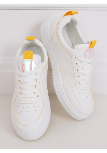 Bílo-žluté stylové tenisky s holografickými vložkami pro dámy