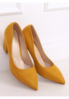 Dámské semišové lodičky na stabilním podpatku ve žluté barvě