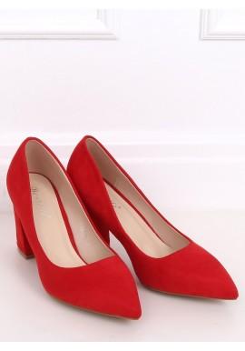 Semišové dámské lodičky červené barvy na stabilním podpatku