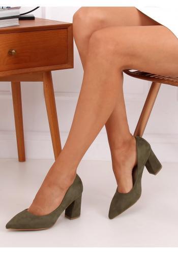 Zelené semišové lodičky na stabilním podpatku pro dámy