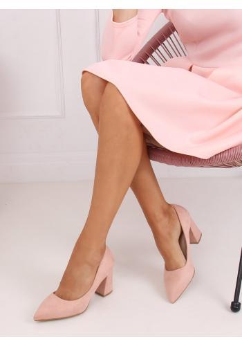 Dámské semišové lodičky na stabilním podpatku v růžové barvě