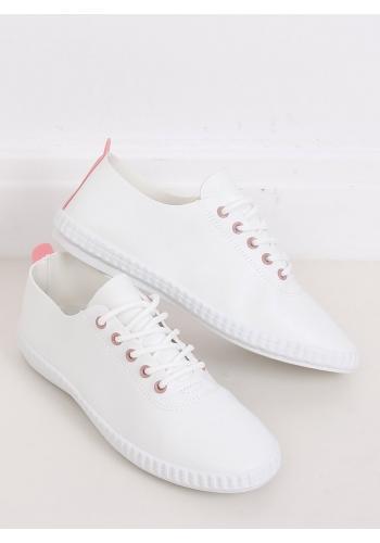Bílo-růžové módní tenisky z ekokůže pro dámy