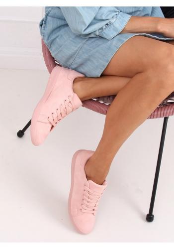 Dámské semišové tenisky s klasickým střihem v růžové barvě