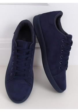 Dámské semišové tenisky s klasickým střihem v tmavě modré barvě