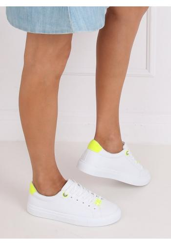 Klasické dámské tenisky bílé barvy se žlutými doplňky