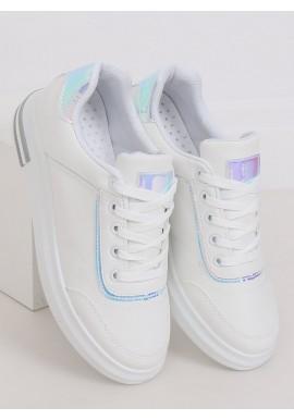 Bílo-stříbrné stylové tenisky na skrytém podpatku pro dámy